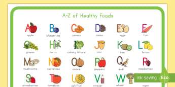 A-Z of Healthy Eating Display Poster - healthy food, healthy eating, fruit, display poster, fish, A to Z
