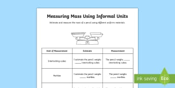 Measuring Mass Using Informal Units Activity Sheets - Mathematics, Year 2, Measurement and Geometry, Using units of measurement, mass, informal units, mea