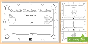 World Teachers' Day Colouring Certificates - Coloring, Appreciation, events, celebration, gift, award, thanks,