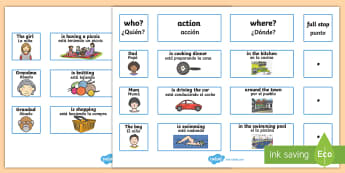 Everyday Sentence Building EAL Cards English/Spanish - Everyday Sentence Building Cards EAL - sentence, building, cards, sentance, senetnce building, seten