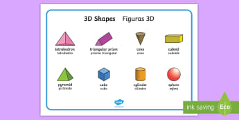 3D Shapes Word Mat English/Spanish -  writing aid, 3D Shape names, Shape Flashcards, Shape Pictures, Shape Words, 3D flashcards, 3dshape,
