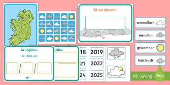 Weather Display Pack - An aimsir, Paca taispeántais, luas cartaí, word cards, the weather gaeilge,Irish