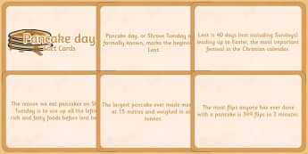 Pancake Day Display Fact Cards - pancake day, fact cards, display
