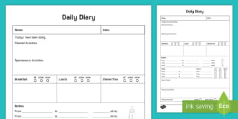 Daily Record Sheet for Baby Record - Daily sheet, daily diary, daily record, care sheet, daily communication, daily sheet, baby diary