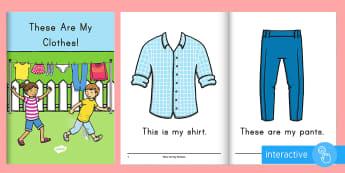 Clothes Emergent Reader eBook - Beginning Reader, Guided Reading, Small Groups, ELA, Pre-K, Preschool, Sight Words