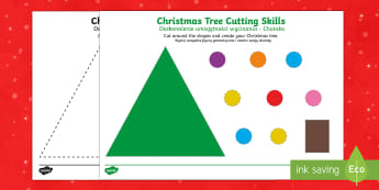Christmas Tree Scissor Skills Activity English/Polish - Christmas, Nativity, Jesus, xmas, Xmas, Father Christmas, Santa, St Nic, Saint Nicholas, traditions,