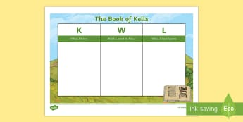 The Book of Kells KWL Grid - trinity college dublin, monastic ireland, scriptures, ancient ireland, tourism