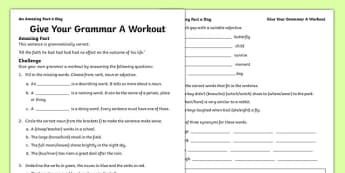 Give Your Grammar A Workout Activity Sheet, worksheet
