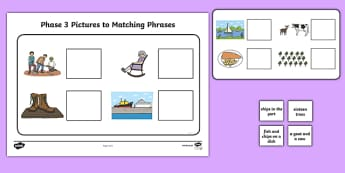 Workstation Pack: Phase 3 Pictures to Phrases Matching Worksheet / Activity Sheet - Workstation Packs,TEACCH, autism, ASD, early years, independent work, phase 2, phonics