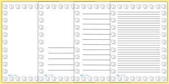 Lined Paper Portrait Page Borders- Portrait Page Borders - Page border, border, writing template, writing aid, writing frame, a4 border, template, templates, landscape