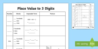 Place Value to 3 Digits Activity Sheet - Place Value Activity Sheet to 10 000 - place value, activity, 10 000, maths, mathematics, numeracy,p
