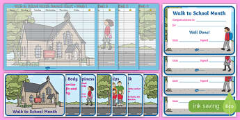 Walk to School Month Chart and Certificate Resource Pack