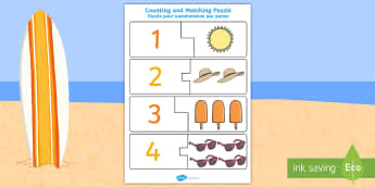 Summer Themed Counting Matching Puzzle English/French - Summer Themed Counting Matching Puzzle - seasons, count, maths, countng, couting, seaons, coutning,