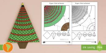 Origami: Árbol de Navidad - navidad, origami, manualidad de papel, decoración de naviudad, español