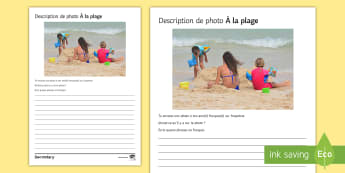 Beach Photo Description Activity Sheet French - KS3, French, Structured, Creative, Writing, Holiday, Beach, plage, worksheet, French