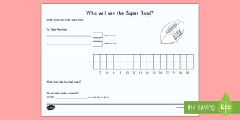 Super Bowl 2018 Count and Graph Worksheet / Activity Sheet
