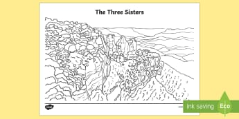The Three Sisters Colouring Page - Sydney Australia, Australia, colouring, mindfulness
