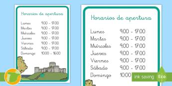 Cartel: Horarios de apertura del castillo medieval - edad media, arquitectura, juegos de rol, roles, rol, primaria, lunes, martes, miércoles, jueves, vi