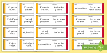 Say the Time Loop Cards - Spanish - Spanish KS2, date, calendar, months, days, numbers, loop cards, tell the time, Say the Time Loop Car