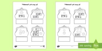 أوراق عمل كم يوجد في المحفظة؟ - النقود، الإمارات، أوراق عمل، عربي، نقود، نشاط,Arabic