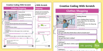 Clothes Shopping Scratch Activity Sheet - worksheet, computing, programming, coding, algorithms, instructions, commands, Scratch