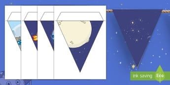 Back to Earth with a Bump Display Bunting - Twinkl originals, fiction, space, solar system, moon, ks1, display