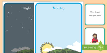 Morning and Night Sorting Activity  - sorting, cards, morning, night, routine