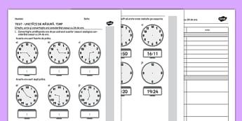 Test, Citeste, scrie si fa conversiunea orei in sistem de 24 ore