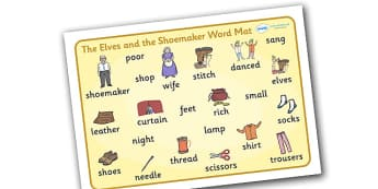 The Elves and the Shoemaker Word Mat - Traditional tale, tales, elves, elf, shoemaker, word mat, writing aid, mat, wife, stitch, leather, danced, shirt, needle, thread, socks, trousers, shoes, workshop, story, fairytale