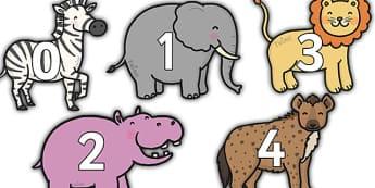 0 to 31 Display Numbers on Safari Animals - safari, on safari, safari animals, numbers on safari animals, safari animal numbers 0-31 on safari animals