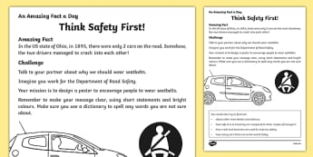 Think Safety First Activity Sheet, worksheet