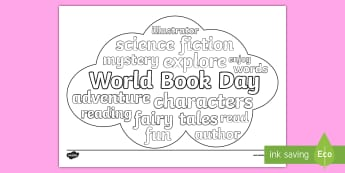 KS2 World Book Day Word Cloud Colouring Page - reading, drawing, words, art