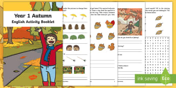 Year 1 Autumn English Activity Booklet - Seasons, Spelling, Grammar, Punctuation, Comprehension