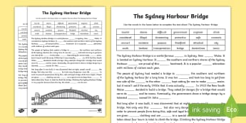 Sydney Harbour Bridge Cloze Activity Sheet - Comprehension, reading strategies, guided reading, australian landmark, australian history, famous p