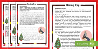 Boxing Day Differentiated Reading Comprehension Activity - literacy, reading skills, christmas, questions, saint stephen