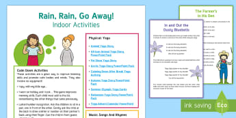 Rainy Day Activities Adult Guidance - EYFS, guide, guidance, rain, rainy, wet, wet play, ideas, games, calm, calm down, songs, rhymes, sin