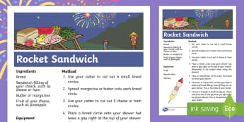 Sparks in the Sky Rocket Sandwich Recipe - KS1, EYFS, Home learning, parents, Design and Technology, bread, cheese, fruit, fireworks, bonfire n