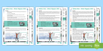 KS2 Nathan Chen Winter Olympics Athlete Differentiated Reading Comprehension Activity - Guided reading, winter Olympics 2018, pyeongchang, figure skating, United States athlete,