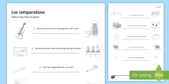 Comparatives Practice Activity Sheet - Spanish Grammar, comparatives, practice, exercises, activity, sheet, worksheet.