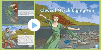 Pŵerbwynt Chwedl Merch Llyn y Fan  - chwedl, legend, llyn y fan, lady of the lake, cottage, bwthyn, cerdded, diflannu, vanished, healing