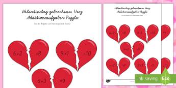 Valentinstag gebrochenes Herz Additionsaufgaben Puzzle - DE Valentinstag,Feste und Feiern, 1./2.Klasse,Rechnen, Addieren und Subtrahieren,Puzzle und spiele,,