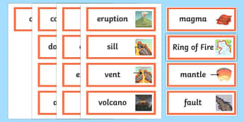 Volcano Word Cards - word cards, volcano, geography, volcanic