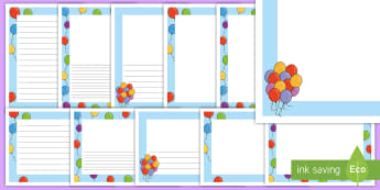 Balloons Page Border Pack - EYFS, Early Years, KS1, Key Stage 1, Literacy, English, writing, mark making, birthday, party.