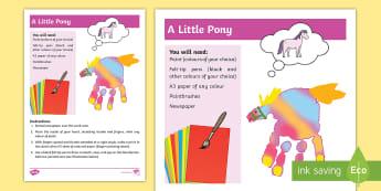 A Little Pony Activity - Sensory, Art, Craft, Hand, Body Part, Paint, Print, Pony, Special Education, Colour,Australia