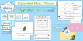 Year 2: What Is an Expanded Noun Phrase? Resource Pack - Year 2, Y2, expanded, noun phrase, expanded noun phrase, nouns, description, adjectives, commas in a