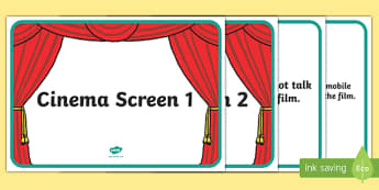 Cinema Role Play Display Signs - Cinema, Film, movie, Role play, play, banner, display, sign, poster,  popcorn, ticket, flick, love, drama, action, genres