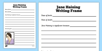 Scottish Significant Individuals Jane Haining Writing Frame - Scottish significant individual, Christian, missionary, Holocaust, Jewish, Auschwitz