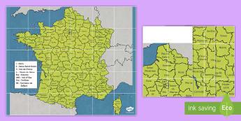 Tapis d'activités Beebot : Les départements de France - Cartes géographiques, map,cycle 2, cycle 3,  KS2, departments, départements, France, tapis d'act