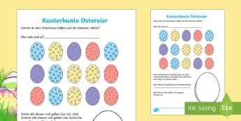 Kunterbunte Ostereier Arbeitsblatt: Lesen und Malen - spring, seasons, Easter, egg. Frühling, Jahreszeiten, Ostern, Ostereier,German