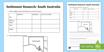 Settlement – South Australia Research Activity Sheet - ACHASSK069, Year 3, Adelaide, information, Australian Curriculum, worksheet, Geography, inquiry, les